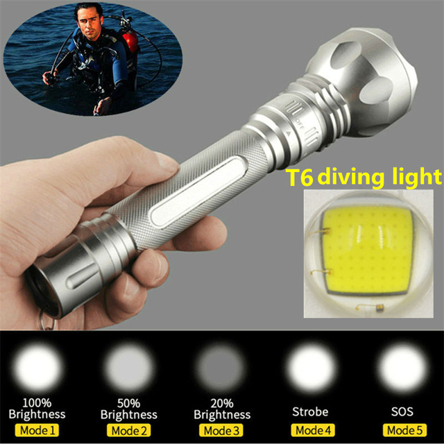 New Diving lights XM-L T6 LED 3800Lm Diving Flashlight torch Waterproof Torch Diver Flash light For 2x 18650 battery