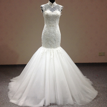 Vestido Noiva High Neck Sleeveless Mermaid Wedding Dresses Backless   Robe De Mariage Custom-made Vestido de noiva 7513