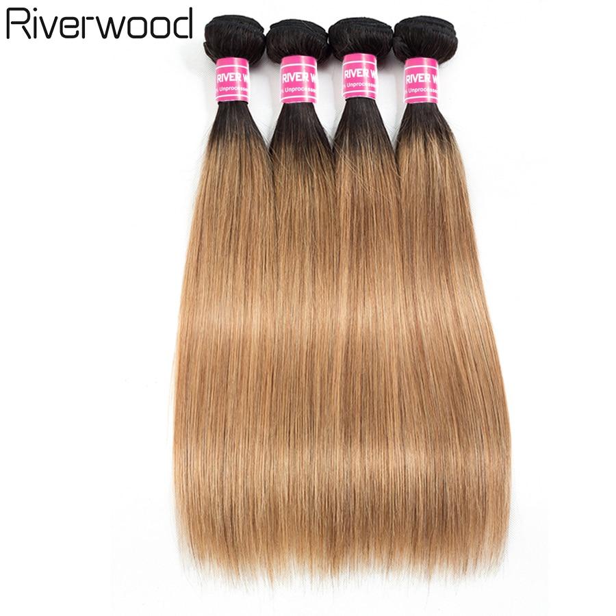 Riverwood Hair Ombre Brazilian Straight Hair 3/4 Bundles 100% Human Hair Weave Bundles 8-26 Insches T1B/27 Remy Hair Extensions