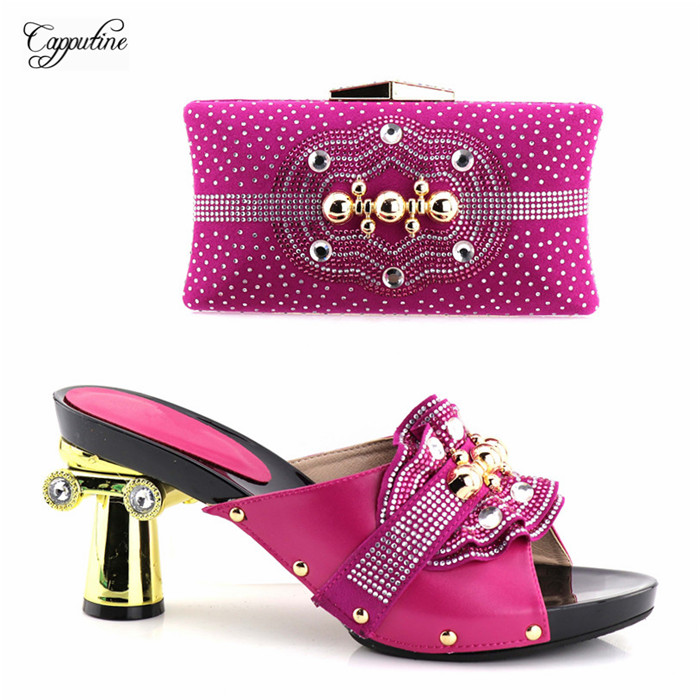 Luxury wedding/party high heel sandal shoes with purse handbag set nice matching for evening dress YH2018-01 fuchsiaLuxury wedding/party high heel sandal shoes with purse handbag set nice matching for evening dress YH2018-01 fuchsia
