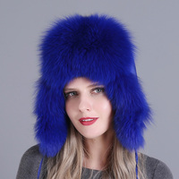 Women Trapper Warm Thick Natural Earflap Bomber Hat Skiing Cap Real Fox Fur Adjustable Autumn Winter Snow