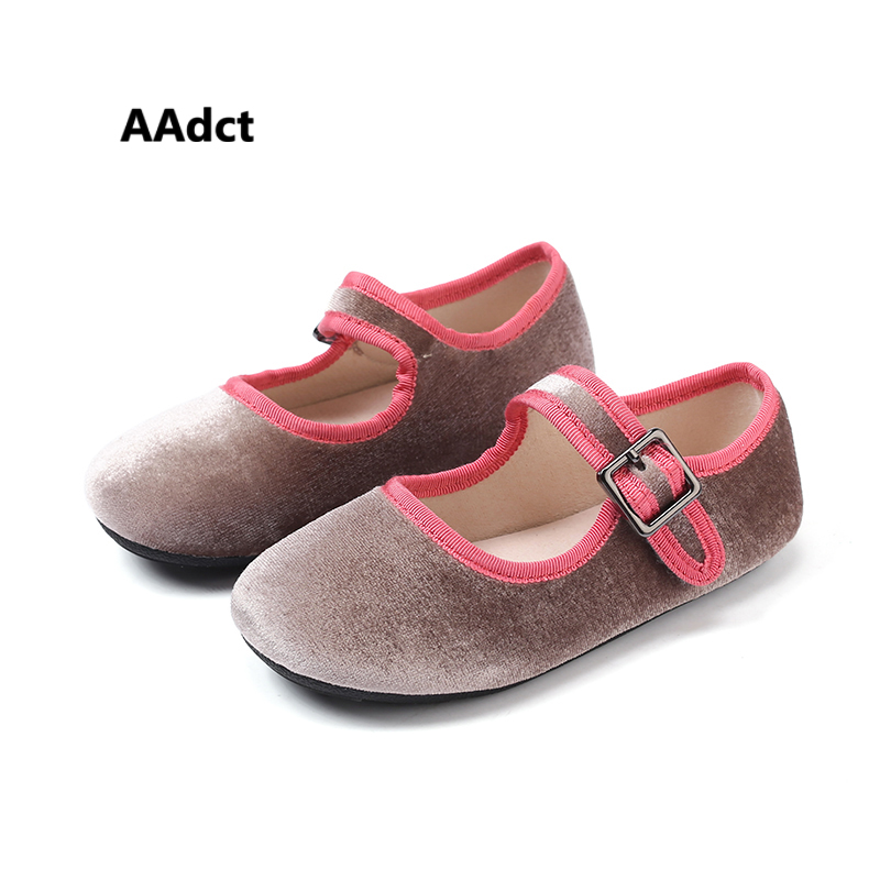 AAdct Spring Autumn little girls shoes Velvet soft sole Flats princess kids shoes High quality Show Baby shoes Brand children