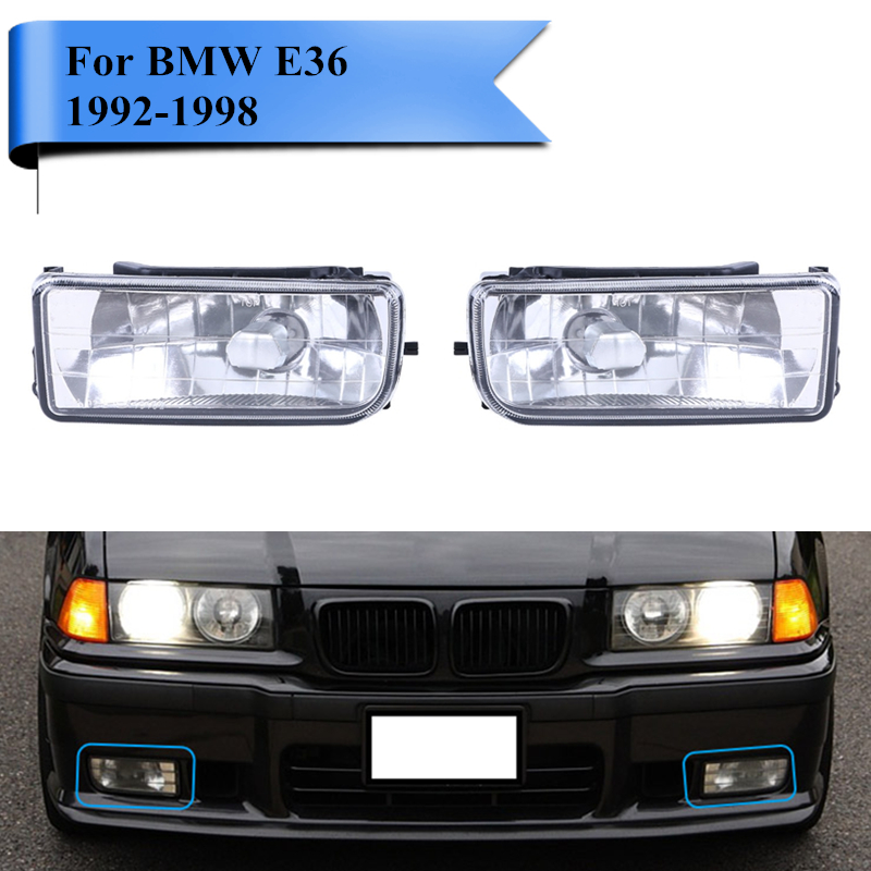 Replacement Front Bumper Fog Light For BMW E36 3 Series 318i 323i 325i M3 1992-1998 Clear Lens FogLamp Housing Car-Styling #991 for bmw 3 series e36 318 328 323 325 front coilover strut camber plate top mount green drift front domlager top upper mount