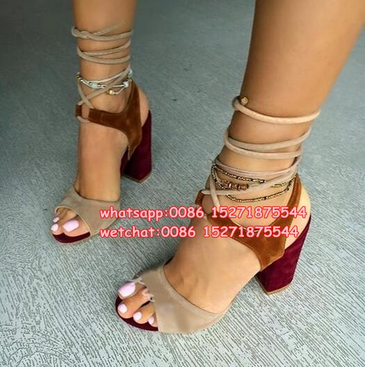 30701102baa Block Chunky Heel Sandals Multicolor Lace Up Suede Lady Open Toe Sandals  Shoes Rome Style Gladiator Woman High Heels Shoes Pumps
