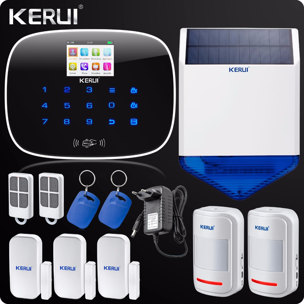 English Russian Voice ISO Android App Control GSM RFID Home Alarm System  House Security Alarm Solar Flash Siren недорого