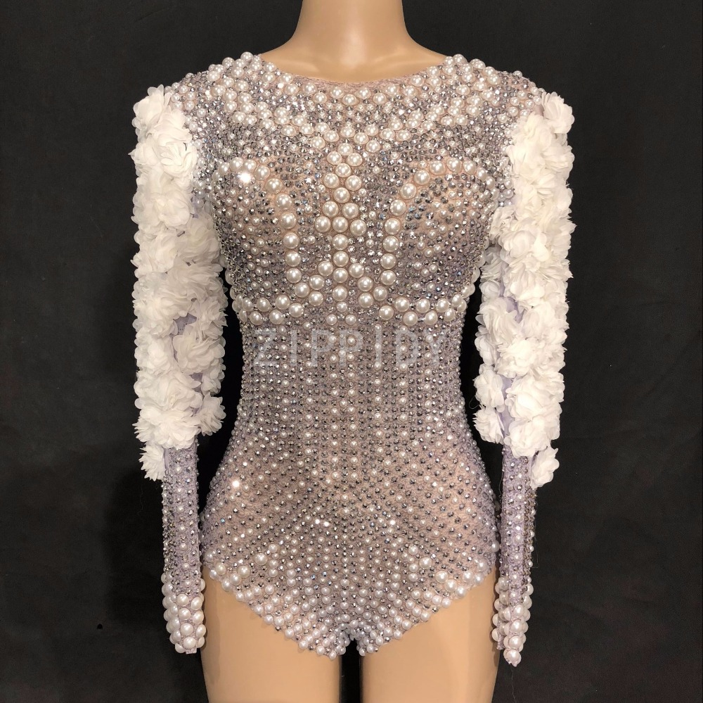 New Sparkly Rhinestones Pearls Bodysuit White Flowers Women s Birthday Celebrate Stage Singer Dance DS Show