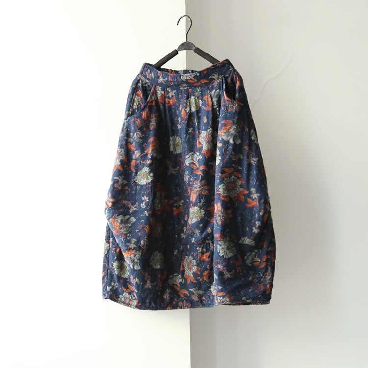 39d9a14429f Женские новые зимние эластичные карманы юбки цветочный принт Бабочка  Свободные повседневные юбки в китайском стиле цветочные