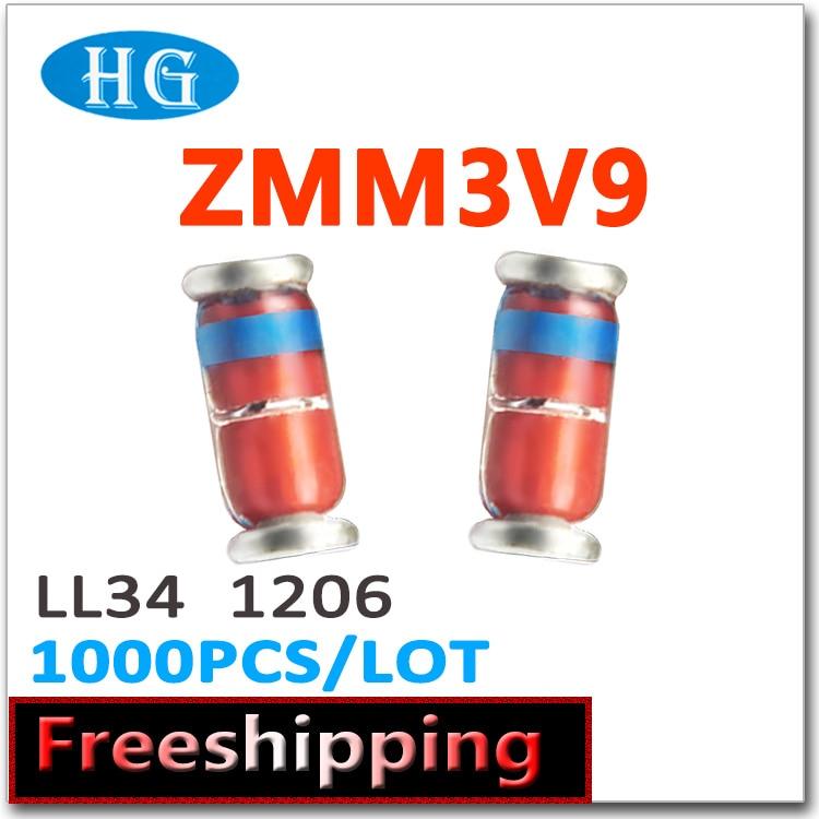 500pcs ZMM3V9 SMD LL34 1206 3.9V 1//2W Zener Diodes Cylindrical