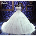 2016 Vestidos de Casamento Baratos Vestidos de Baile Plus Size Livre de Cristal Do Vintage Bordado Vestido de Casamento Da Princesa Vestidos De Casamento Modestos