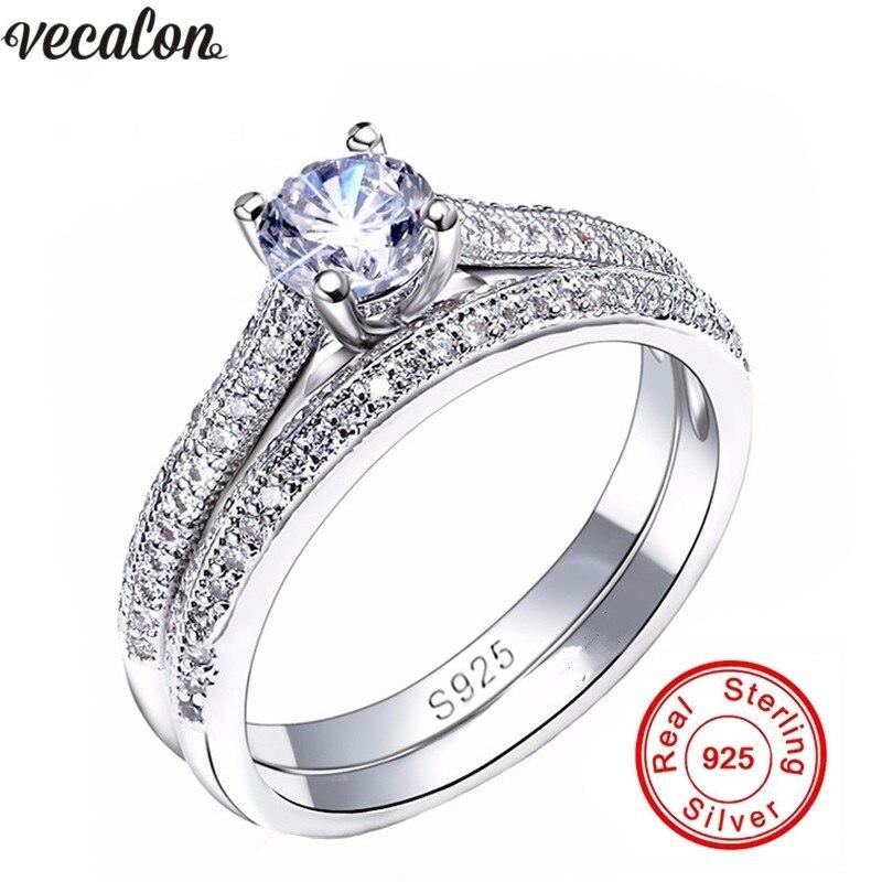 Vecalon 3 farben Paar Jahrestag ring 5A Zirkon Cz 925 sterling silber Engagement hochzeit Band ringe für frauen Brautschmuck
