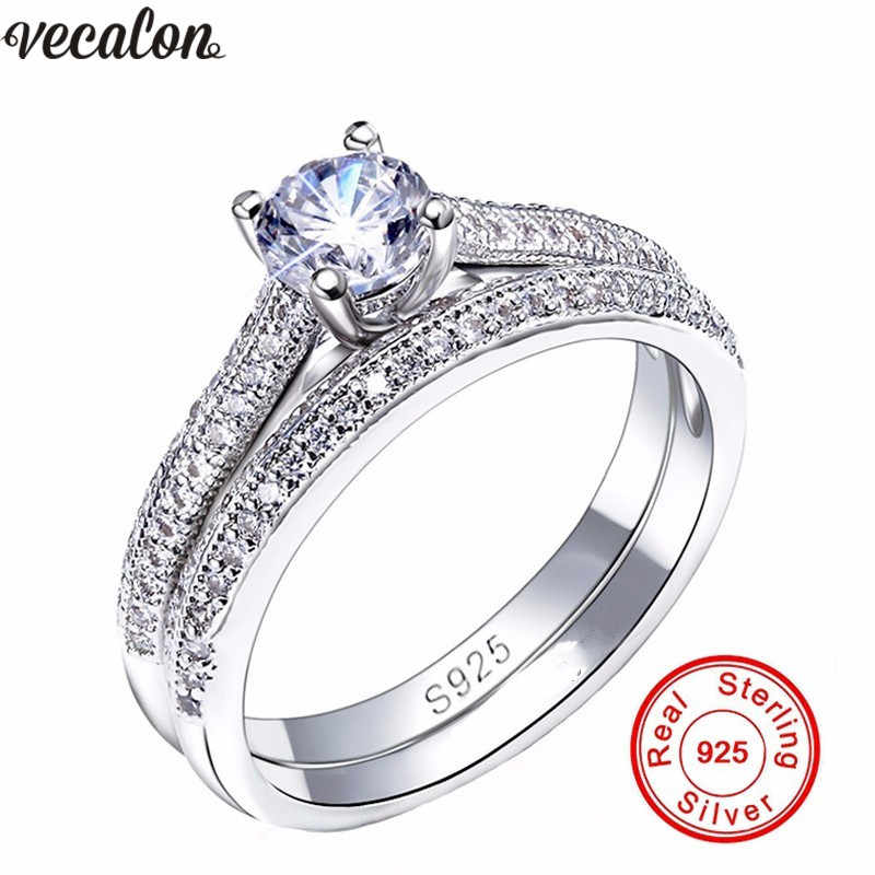 Vecalon 3สีคู่แหวนครบรอบ5AเพทายCz 925เงินสเตอร์ลิงหมั้นแหวนแต่งงานวงสำหรับผู้หญิงเครื่องประดับเจ้าสาว