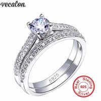 Vecalon 3 colores pareja aniversario anillo 5A circón Cz 925 Plata de Ley compromiso boda anillos para mujeres joyería nupcial