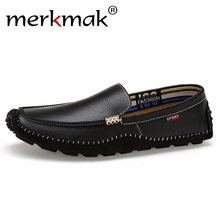 Merkmak Big Size 38~47 Genuine Leather Men Loafers Top quality Comfortable Hands
