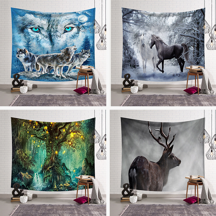 Wolf tapestry Wall Hanging tapestry animal Wall art Large Tapestry decor blanket Beach Towel Yoga 200x150cm tenture psychedelic image