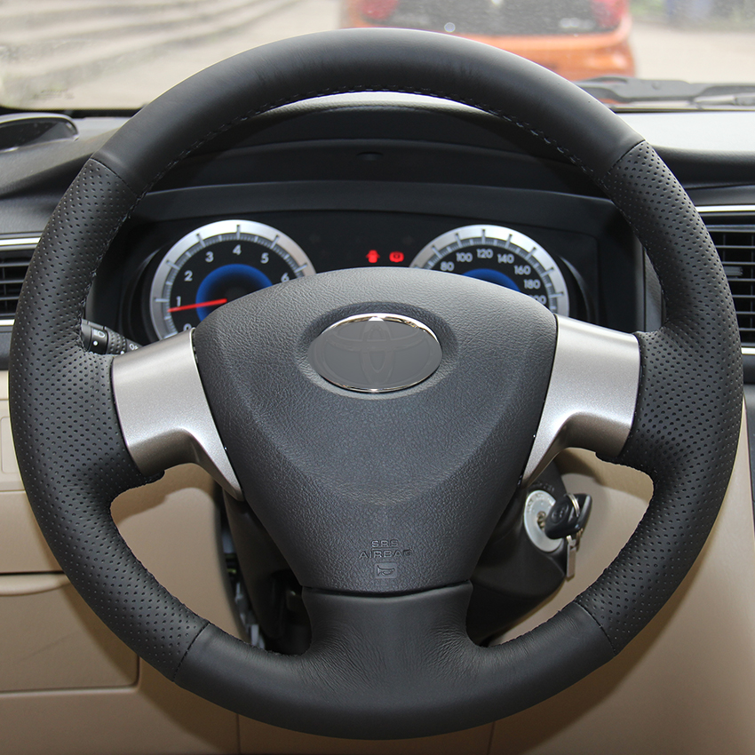 Black Synthetic Leather Car Steering Wheel Cover For Toyota Corolla 2006 2010 Matrix 2009 Auris 2007 2009 In Steering Covers From Automobiles