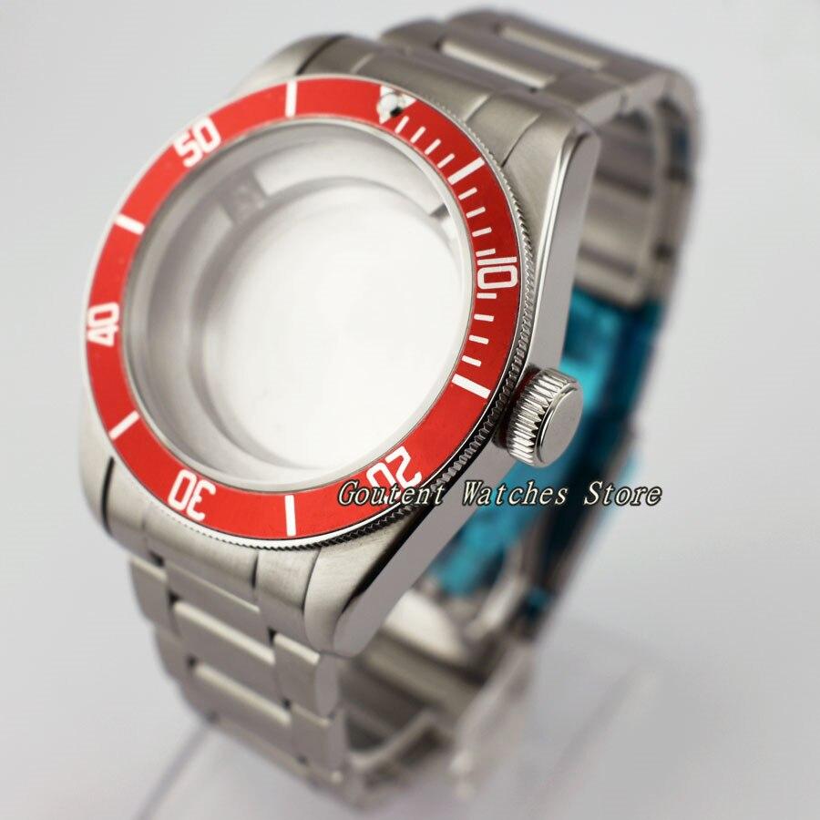 41mm Stainless Steel Watch Case Red Bezel Fit ETA 2836,Miyota 82 Series Automatic Movement Wristwatch Shell