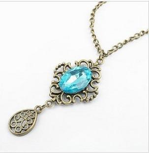 x16 The 2016 Wholesale Fashion Retro Hollow Blue Droplets Womens Vintage Necklace