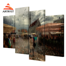 Artryst 4 pcs of modern home decoration landscape canvas painting Tallinn old girl umbrella picture print on canvas for bedroom