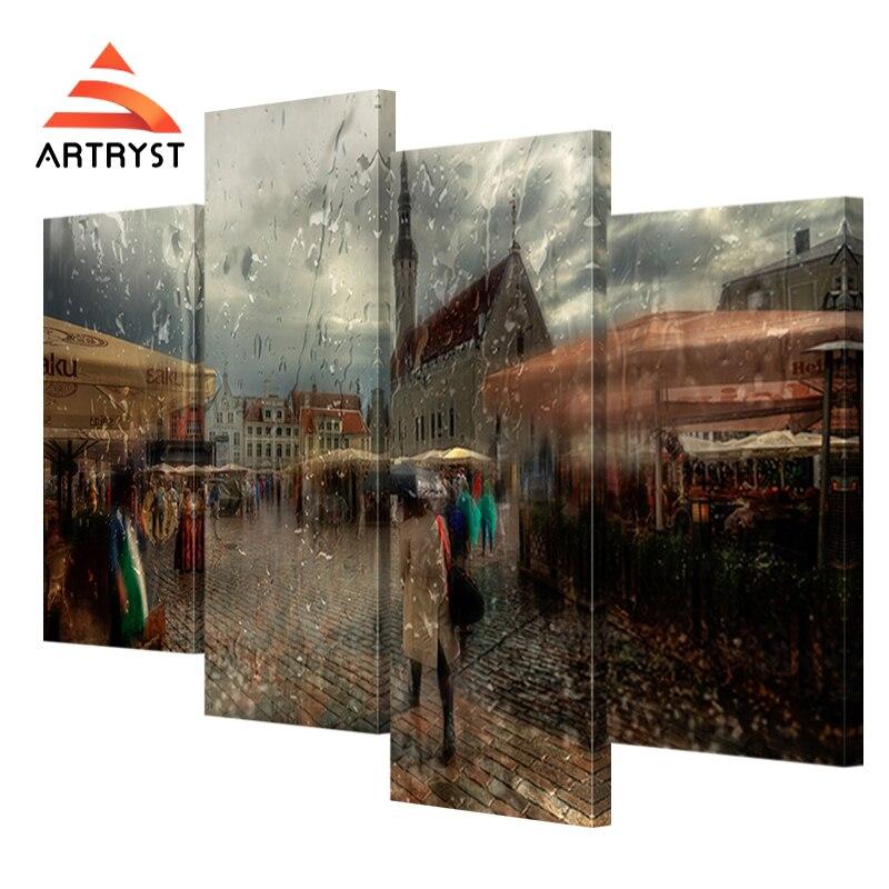 Artryst 4 ks moderní domácí dekorace krajinomalby malířské - Dekorace interiéru