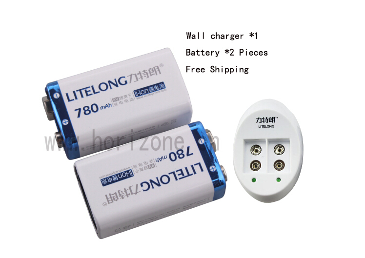 Free Shipping 2PCS  9V Li-ion 780mAh Microphones Battery + 1 charger  for Pile  PP3 6LR61 6LR21 MN1604 6LF22