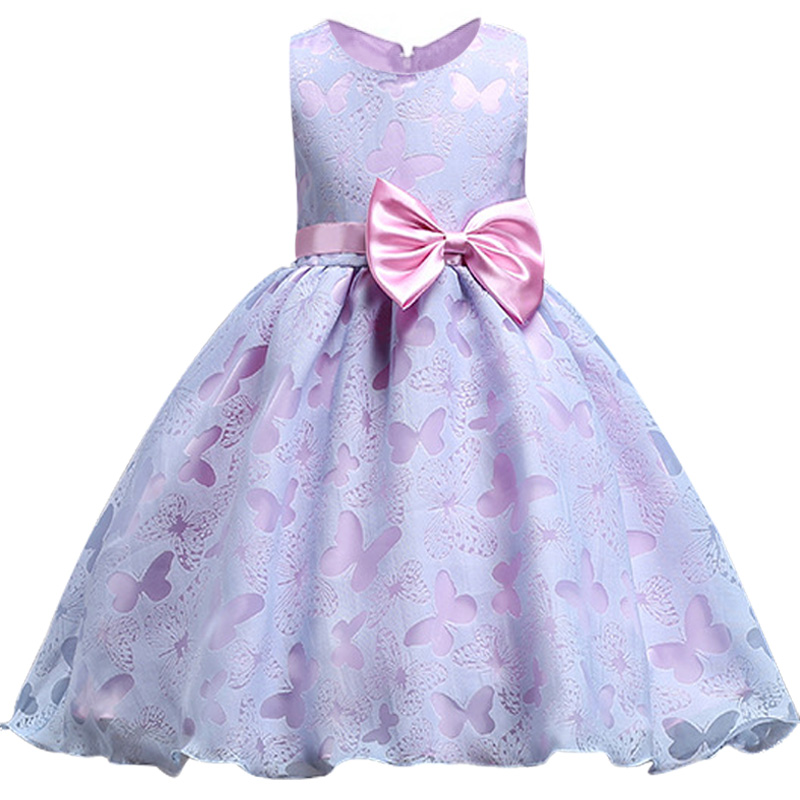 Baby Girl Birthday Dress Butterfly Kids Girl Wedding Flower Girls Dress Big bow tutu Princess Party Pageant Formal Dress Prom new high quality fashion excellent girl party dress with big lace bow color purple princess dresses for wedding and birthday