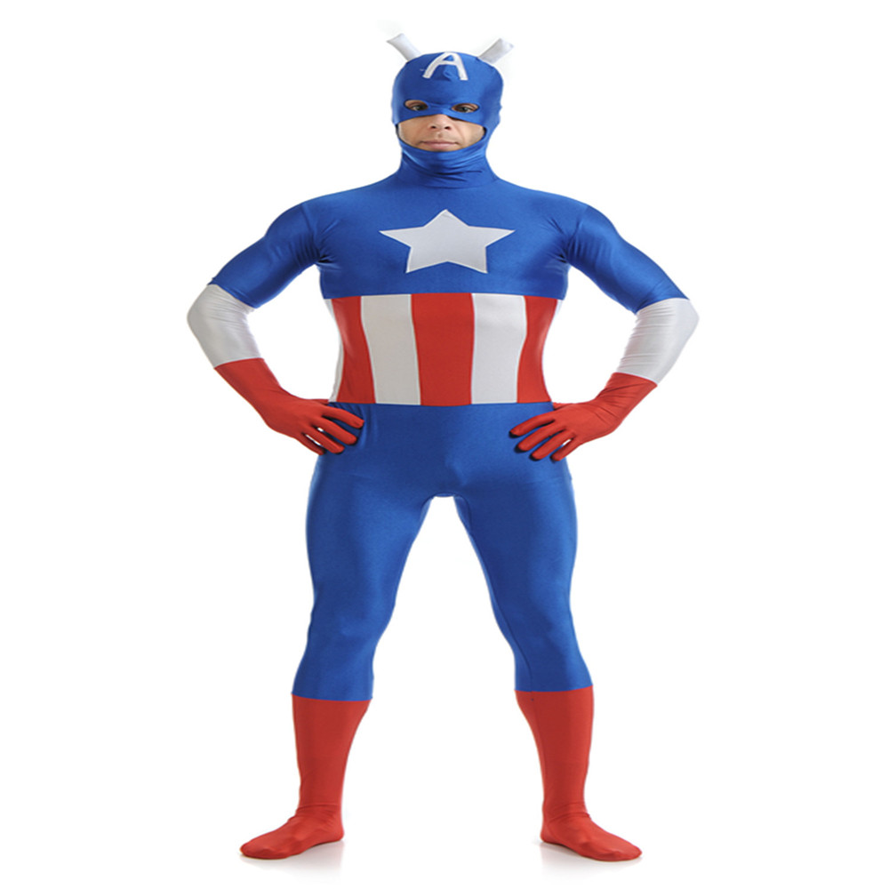 Cosplay The Avengers Captain America Zentai Jumpsuit Leotard Lycra  Adult/kids Halloween Carnival bodysuit Costume