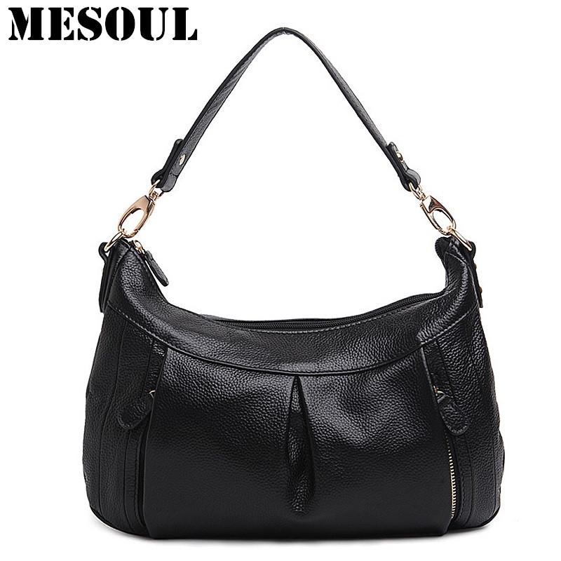 MESOUL Women Shoulder Bag Genuine Leather Crossbody Bags Female Casual Tote High Quality Designer Sac a Main Brand Hobo Handbag women leather handbags vintage shoulder bag female casual tote bags high quality lady designer handbags sac a main crossbody bag