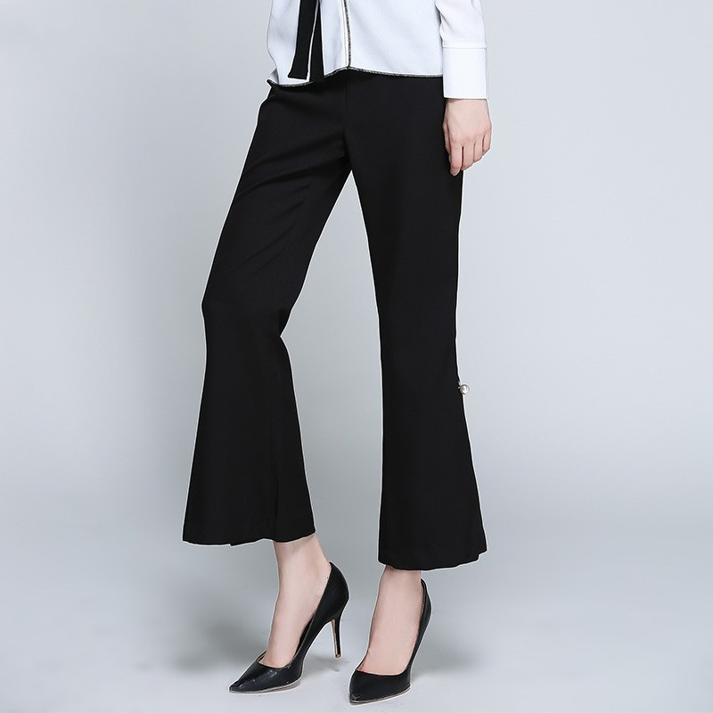 Black Slim Damas white Elegante Amplia Negro Pierna Plano Blanco Mujeres Verano Fondo Oficina Cremallera Pantalones Campana Fit Alta Perlas Cintura De OqgRHvwB