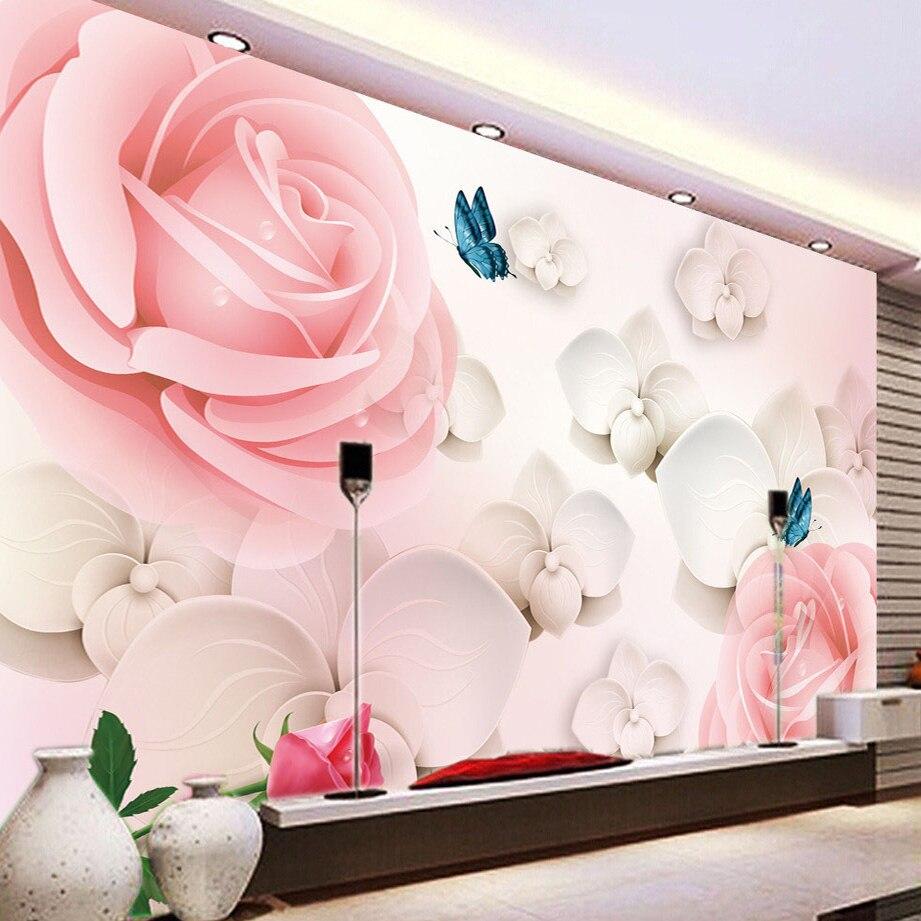 Large papel de parede decorative 3d wall panels murals wallpaper for - 3d Hd Large Mural Pink Rose Photo Wallpaper Scenery For Walls Wedding House Romantic Wall Paper Home Decoration Papel De Parede