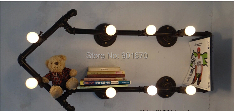 Loft personalized water pipe wall lamp vintage decoration lighting lights Lengh 1050mm iron sconce - Goddesslighting Factory's store