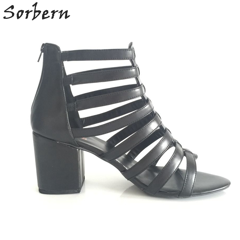 Soerben Hot Sale Womans Shoes Chunky Heel Gladiator Sandals Women Size 43 High Heel Open Toe Summer Shoes EU34-46 hot sale big size 30 46 fashion summer women gladiator shoes sexy open toe pu leather slip on high heel sandals chd 66