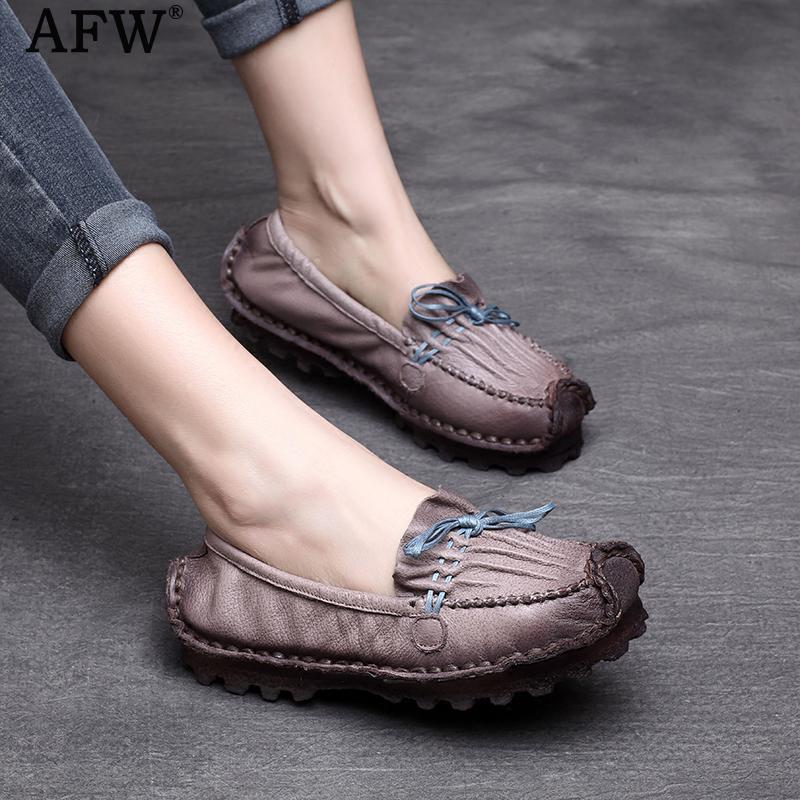 AFW Women Ballat Flats Genuine Leather Women Loafers 2018 Spring Low Heel Women Shoes Retro Handmade Leather Flats Slip On