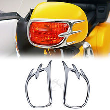 Купить с кэшбэком Motorcycle Chrome Turn Signal Light Decoration Trim Case for Honda GL1800 GOLDWING GL 1800 2001-2011 Chrome  Aluminum