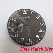 d2913e41cc4 Parnis 38.9mm black dial prata marcas numerais Arábicos Apto para ETA 6497  mão winding Movimento mecânico assista dial D113