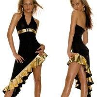 2017 new sexy metallic pedrinhas faux leather assimétrica dress babydoll halter clubwear festa preto longo vestido de ouro sereia