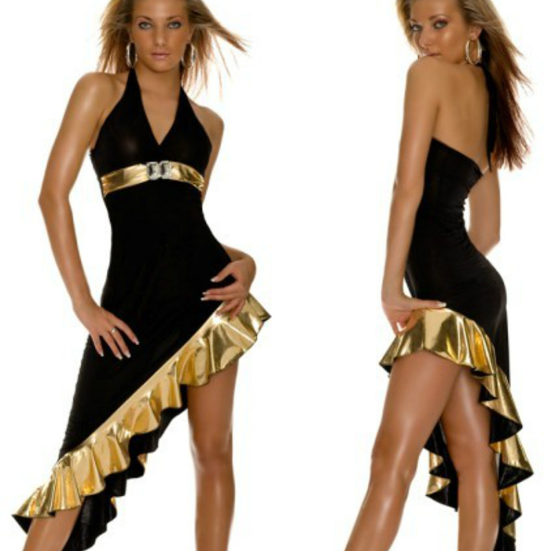 2018 New Sexy Metallic Rhinestones Faux Leather Asymmetric dress Babydoll Halter Party Clubwear Black Long Gown Gold Mermaid