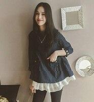 4xl Plus Big Size Women Clothing 2017 Spring Autumn Winter Korean Vestido Stripe Falbala Cute Sweet