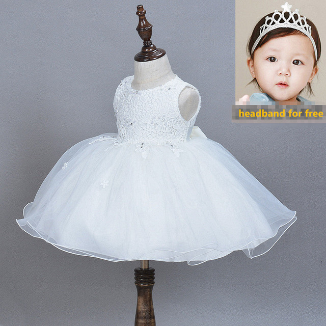 New 2016 Baby Girl Dress tutu dress 1 year girl baby birthday dress Newborn Girl Christening Gown Lace White Baptism Dress