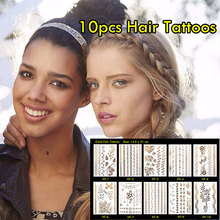 10pcs Metallic Hair Tattoos Waterproof Gold Tattoos Non-toxic Temporary Tattoo Stickers And Inspired Flash Tattoos