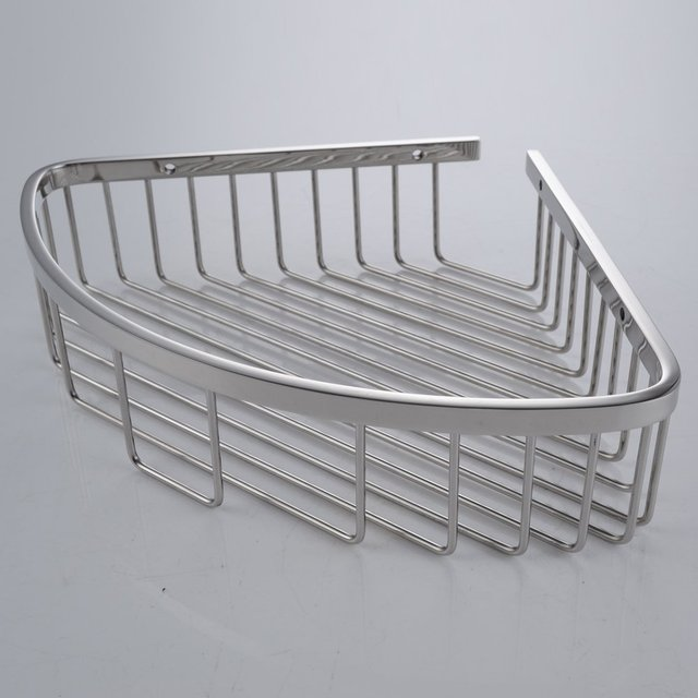Bathroom Corner Triangular Tub and Shower Caddy Basket SUS304 Stainless Steel Wall Mount, Polished Finish-in Bathroom Shelves from Home Improvement on ...