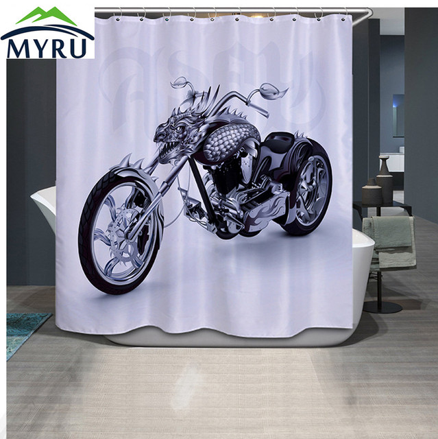 MYRU 3D Printing Cool Motorcycle Shower Curtains Unique Shower Curtains For  Bathroom 180x180cm