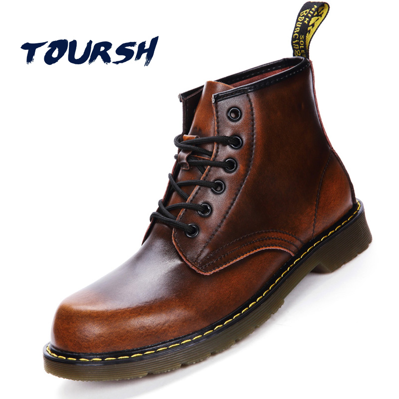 TOURSH Luxury Genuine Leather Women Ankle Working Boots Winter Warm Shoes Waterproof Black Lace Up Boots Plus Size 42 Zapatos free shipping women fashion winter shoes genuine leather ankle boots wedges female winter working boots plus size 34 41
