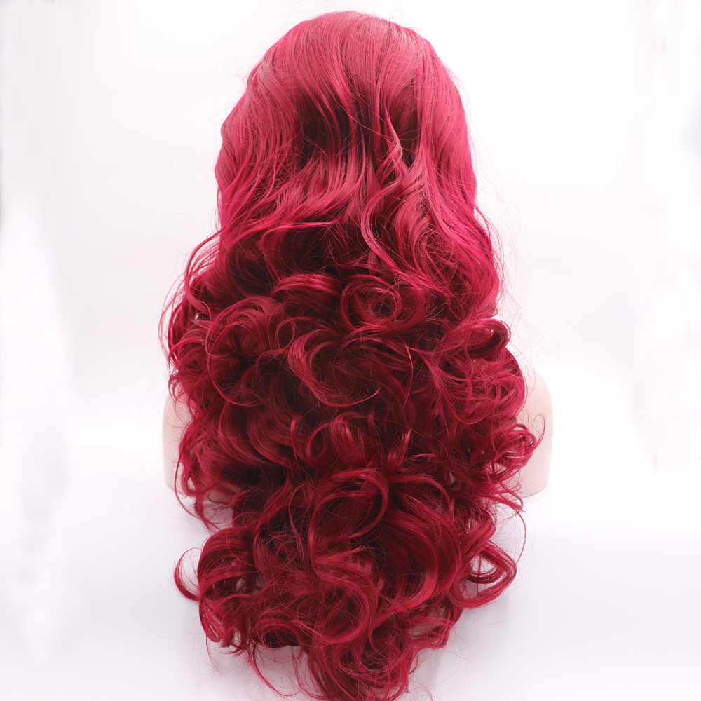 Fantasy Beauty Red Color Natural Looking  Long Body Wave Synthetic Lace Front Wig Glueless Wig