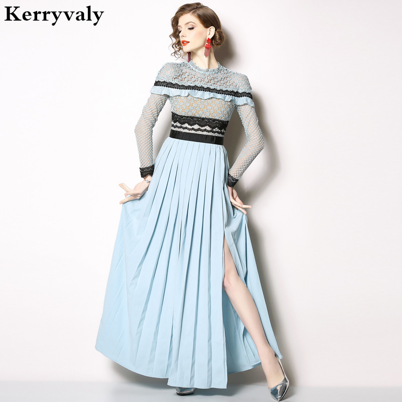 Spring Pleated Open Cross Long Party Runway Dress Ropa Mujer 2019 Women Long Sleeve Maxi Lace