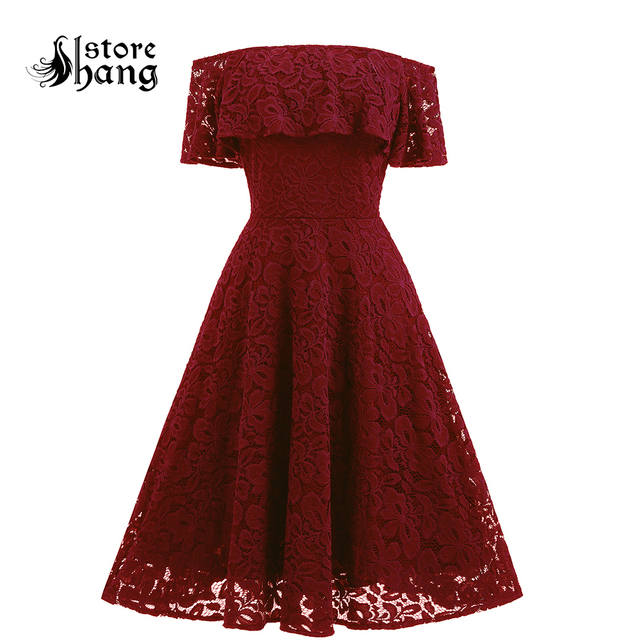 Trendy Floral Lace Ruffled Off the Shoulder Vintage Dress Fit and Flare  Skater Dress Elegant Women Special Occasion Party Dress 3943eeec4