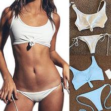 Solid Women knot Bandage Bikini Set Swimsuit Beachwear 2pcs Low Waist Triangle Swimwear Bathing Suit