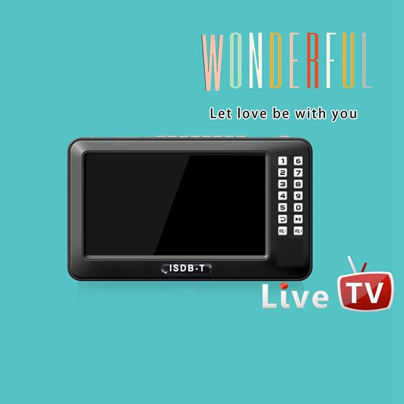 Portable 4.3 inch Lcd Tv Isdb-T Full Seg Fm Rechargeable Tv For Live Movies Music Fm Anytime Eu Plug