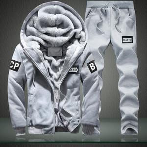 Image 5 - Men Sweatshirts Casual Thick Warm Fleece Hoodies Male Zipper Long Sleeve Solid Hooded Sweatshirt Tracksuit Moletom Masculino