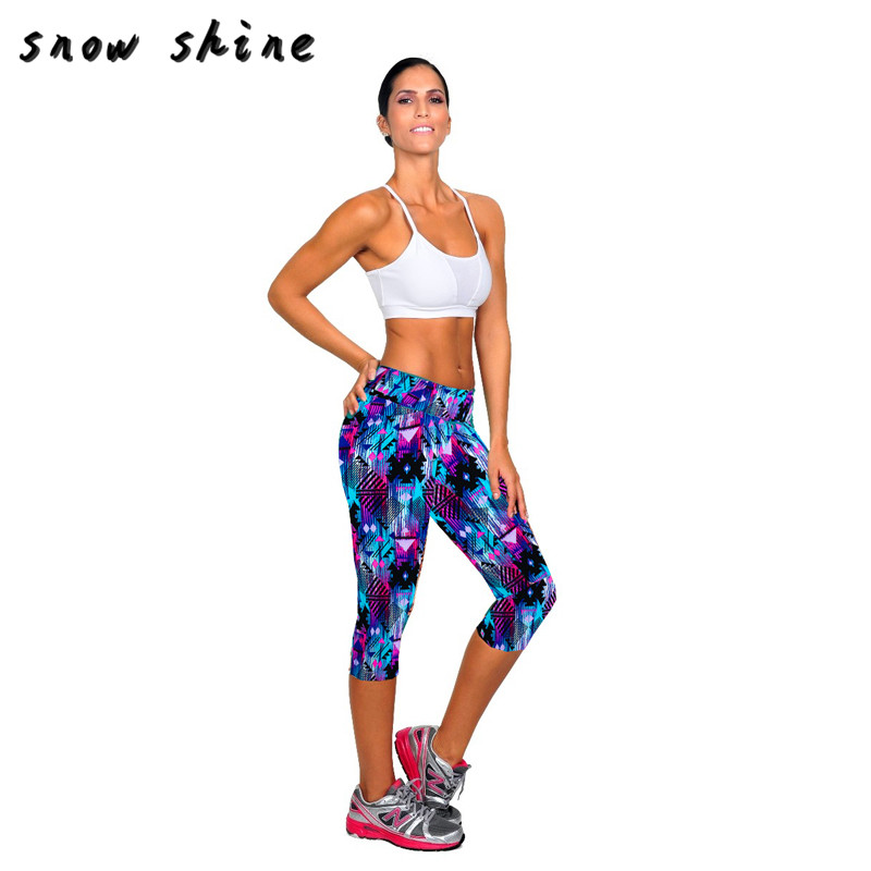 snowshine YLIW New Womens High Waist Fitness   Pants Printed Stretch Cropped free shipping