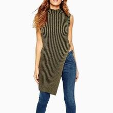 European Style Women's O-Neck Solid Colour Sleeveless Long Sweater Vest Fashion Female Hem Split Design Simple Pullovers Tops